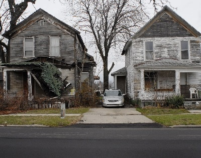 Impoverished homes in Flint, Michigan