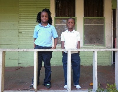Improvised children on porch in Lake Providence, Louisiana