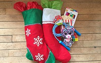 Donated holiday stockings for kids in need