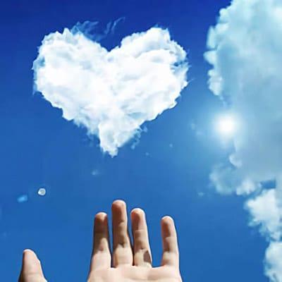 Heart in clouds